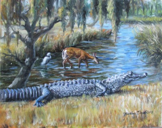 a painting of an alligator by the side of a pond by Martha Dodd
