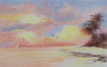 Anne Tuttle, Coastal Sunset, Colored Pencil Painting