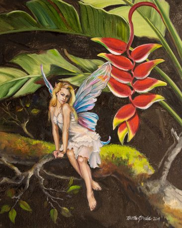 a digital photograph of a painting of a fairy with a heliconia plant.