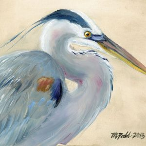 a digital photograph of a painting of a great blue heron