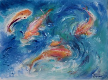 a painting of koi fish by Tracy Owen Cullimore