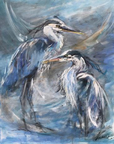 An acrylic Painting of two great blue herons by Tracy Owen Cullimore