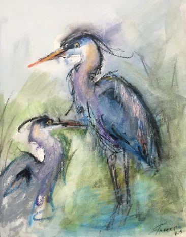 A painting of two blue herons by Tracy Owen Cullimore