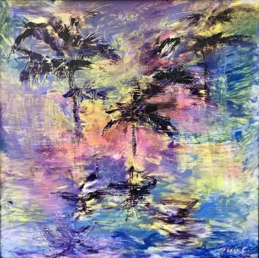 a painting of palm trees by Tracy Owen Cullimore