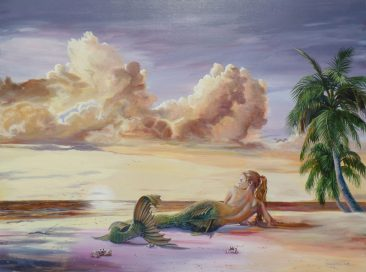 A digital photograph of a painting by Martha Dodd called Serene Mermaid