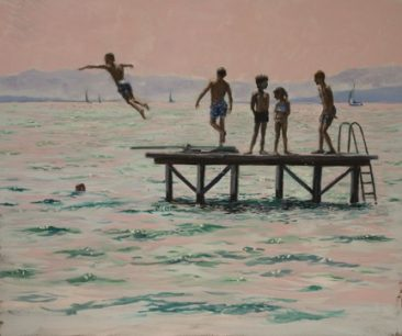 A digital Photo of an oil painting depicting children swimming and diving in the lake of geneva, Switzerland, by Martha JDodd