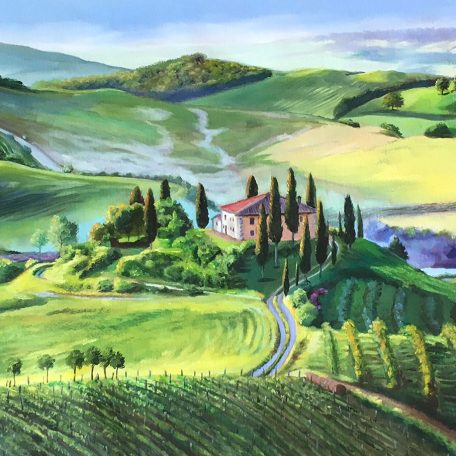 A digital photograph of a painting of a Tuscan Landscape by Martha J Dodd
