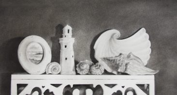 Tuttle Circles & Spirals, graphite and charcoal drawing of nautical knickknacks and shells on shelf,Hiride Girdie Gallery