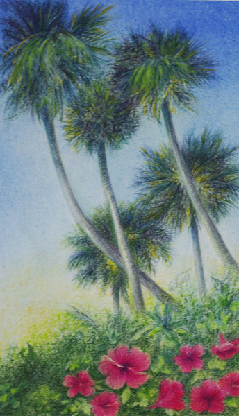Tuttle, Five Palms, colored pencil painting of 5 palm trees with sky background, Hirdie Girdie Gallery