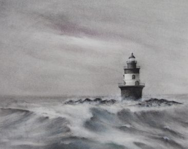 Tuttle Memories of the North Shore, charcoal and graphite drawing of a lighthouse surrounded by rough breaking waves, Hirdie Girdie Gallery