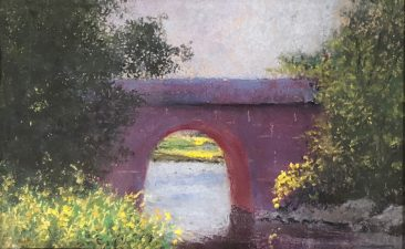 Tuttle, The Old Railroad Bridge, pastel painting of an old brick railroad bridge,Hirdie Girdie Gallery