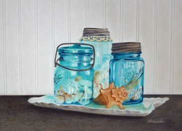 Tuttle Vintage Treasures colored pencil painting of Mason jars and shells, Hirdie Girdie Gallery