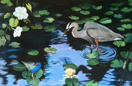 a digital photo of Heron with Lilies