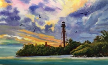 painting of a lighthouse on sanibel island at sunset