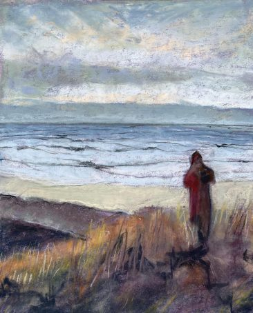 A lone figure overlooking rough Pacific waters. By artist Suzanne Bennett