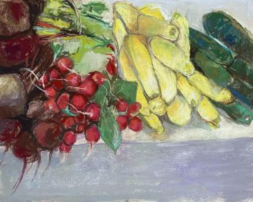 Radishes and squash on a table. By artists Suzanne Bennett.