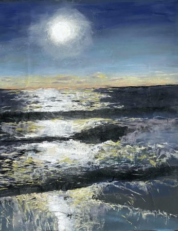 Moon rising over dark seas, artist Suzanne Bennett