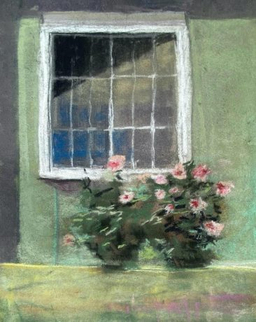 A window set in a green pastel wall by artist Suzanne Bennett