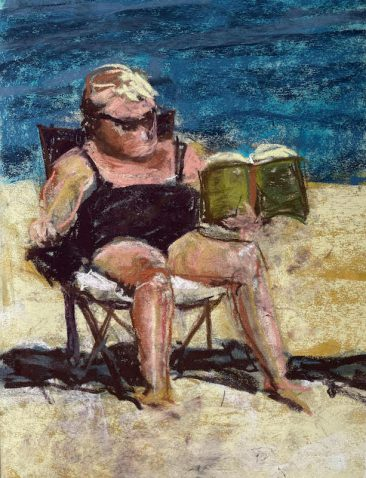 Woman in bathing suit reading a book, by artist Suzanne Bennett