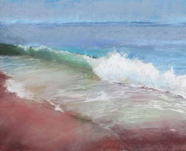 A foamy white wave crashing on a red beach. By artist Suzanne Bennett.