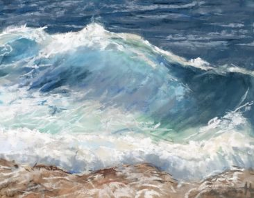 painting of ocean waves crashing on the shore by suzanne bennett