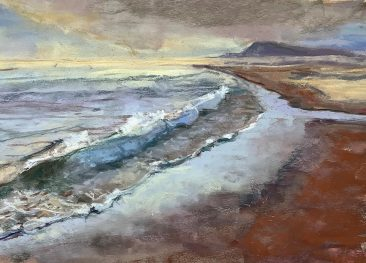 Rough surf on a Pacific coast beach, hills in the background. Artist Suzanne Bennett.