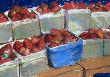 delicious boxes of strawberries, artist Suzanne Bennett.
