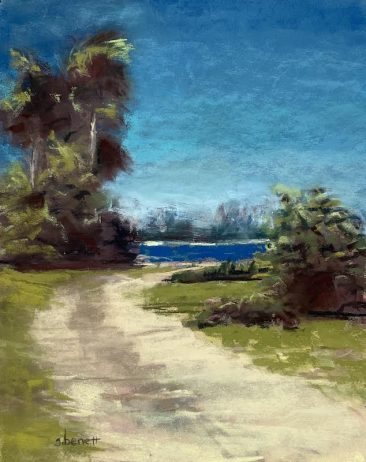 Sandy beach path leading to view of Sanibel Island, artist Suzanne Bennett