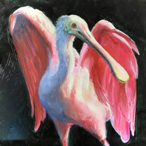 Rose Angel Spoonbill Original Painting By Martha Dodd