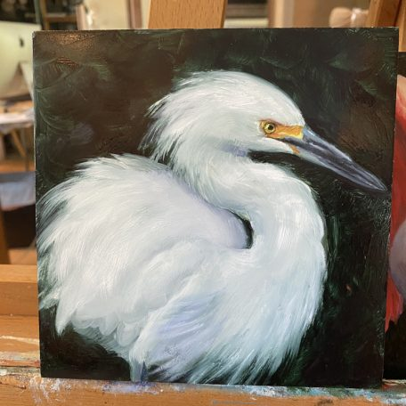 Soft Snowy Egret - original 6 x 6 oil on. panel.