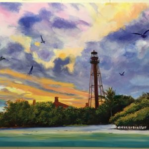 Sanibel Lighthouse at Sunset Original Painting