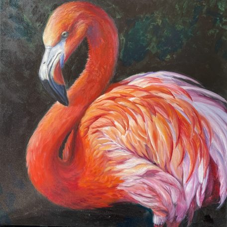 a painting of a pink flamingo with a black background