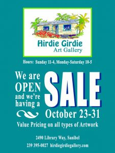 poster describing hirdie girdie gallery sale october 23rd to the 31st.