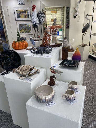 Kelly Williamson collection of ceramic arts as well as other artists sculptures