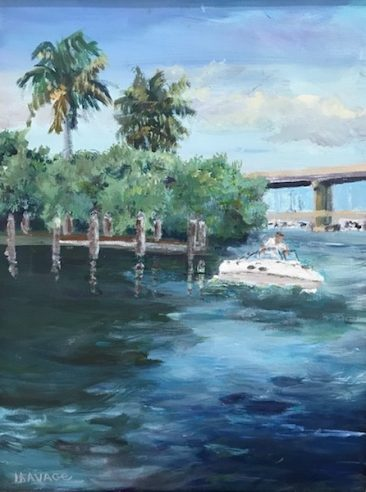 A painting by Judy Usavage of the Caloosahatchee river, a bridge and palm trees.