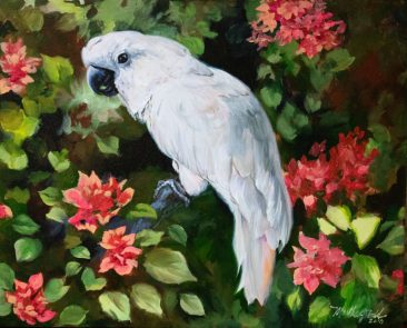 white cockatoo with pink beauganvilla painting by martha dodd