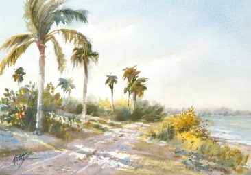 Watercolor painting named Palm shadows by Keith Johnson