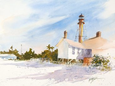 Watercolor Painting called Sanibel Lighthouse Vignette by Keith Johnson