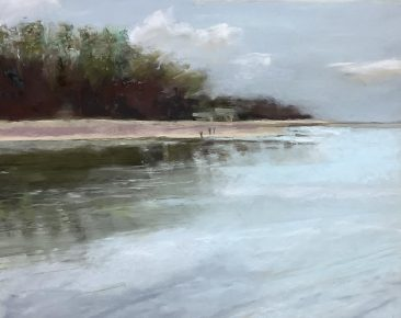 beach scene with trees recflected int he water pastel painting by suzanne bennett