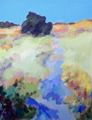 landscape painting by anita putnam with yellow grass and blue shadows